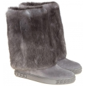 Casadei knee high boots in grey suede and fur