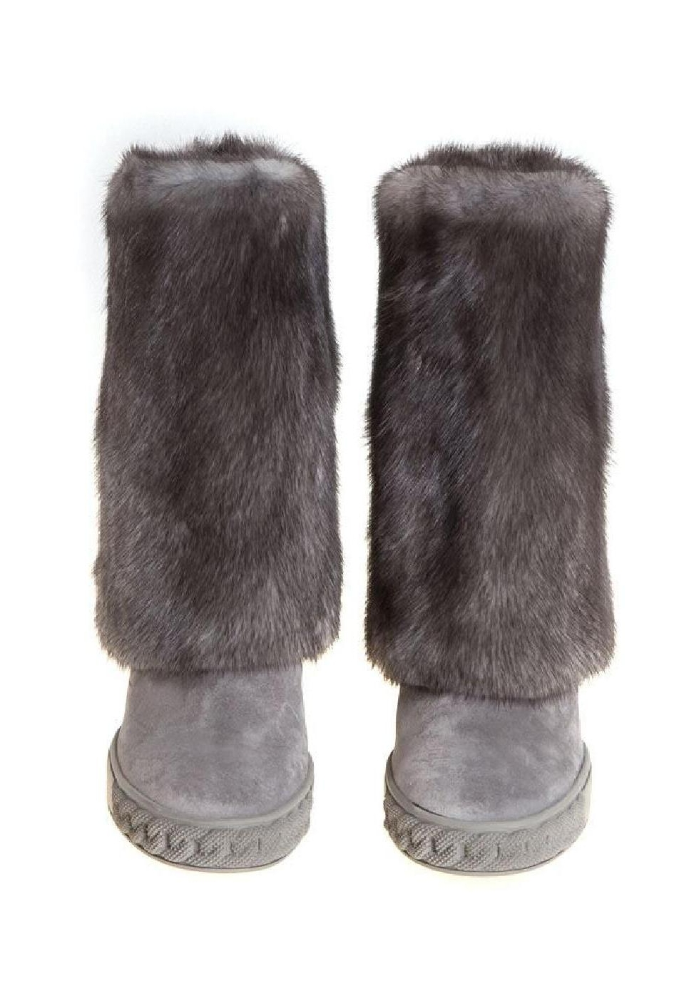 Casadei Knee High Boots In Grey Suede And Fur Italian