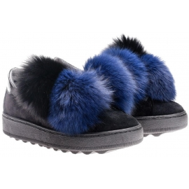 Philippe Model sneakers in black suede leather and fur