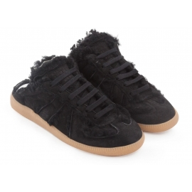 Maison Margiela women's Replica sneakers in black suede leather