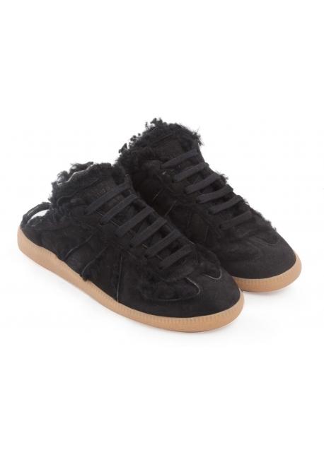 Maison Margiela women's Replica sneakers in black suede leather