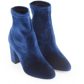 Aquazzura squared heel midcalf booties in blue velvet