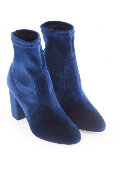 Aquazzura squared heel midcalf booties in blue velvet