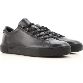 Tod's men's low sneakers in black calf leather
