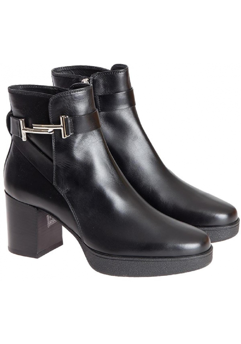 Tod S Block Heels Ankle Boots In Black Leather Italian