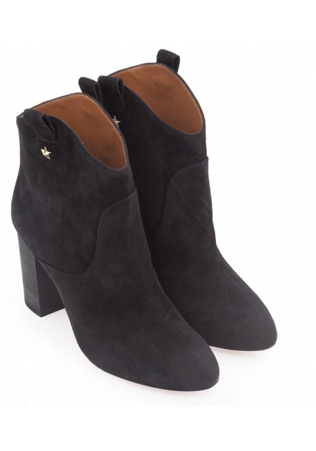 Aquazzura heels western booties in black suede leather
