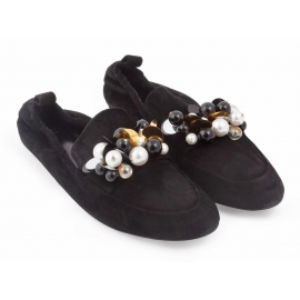 Lanvin flats ballerina in black suede leather