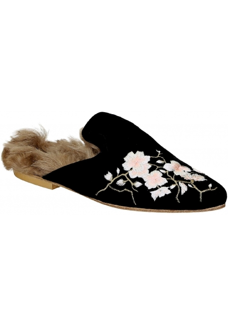 Gia Couture flat fur close slides in black velvet