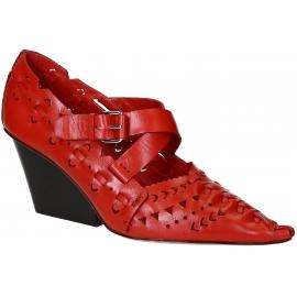 Céline Folk block heels pumps in red calf leather