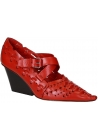 Céline block heels pumps in red calf leather