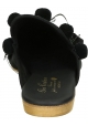 Gia Couture women slippers in black leather and fabric