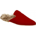 Gia Couture fur lined close slippers in red velvet