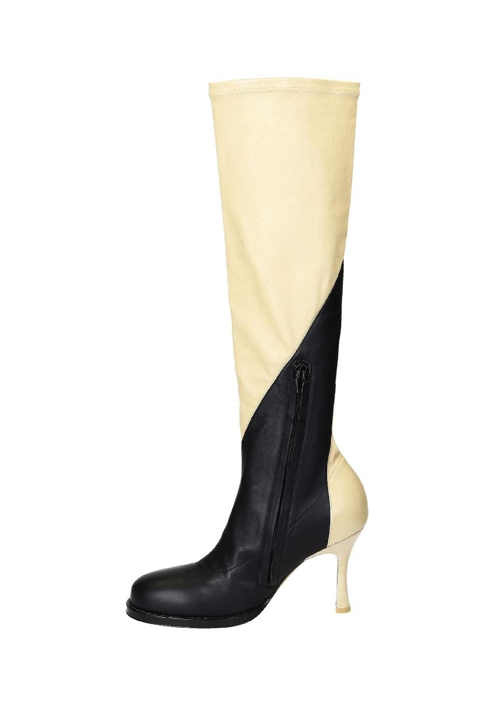 C 233 Line Knee High Boots In Black Off White Soft Leather