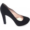 Miu Miu women peep toes in black Chamois leather
