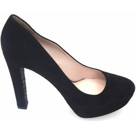 Miu Miu women peep toes in black Chamois leather