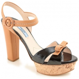 Prada sandals with platform in black/tan leather