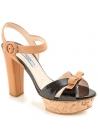 Prada sandals with platform in black/tan leather