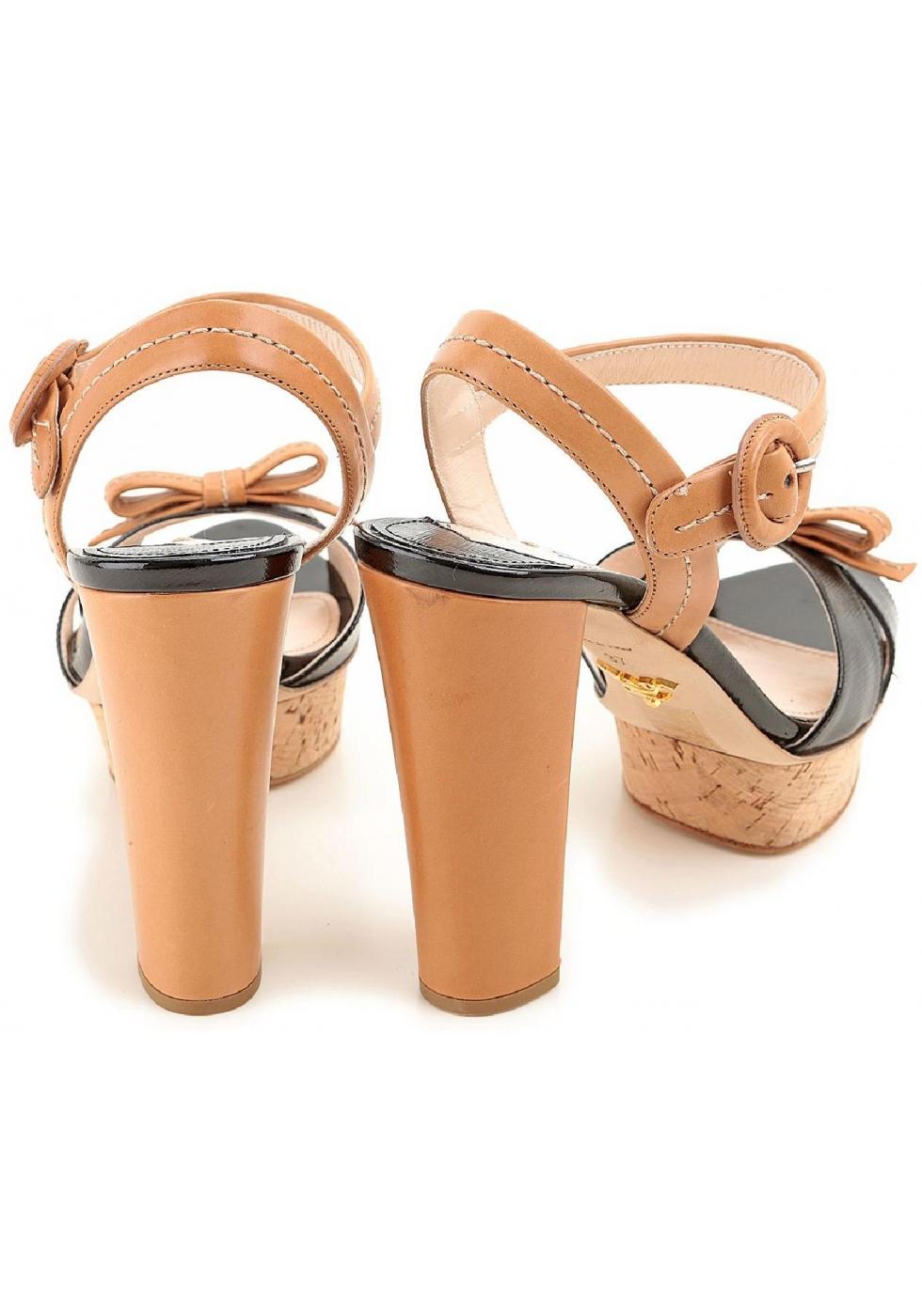 1dd1ebfdc07e Prada sandals with platform in black tan leather - Italian Boutique