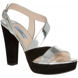 Prada sandals in silver metallic and black suede leather