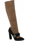 Prada knee high boots in nude and black suede leather