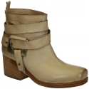 Vic Matié block heels ankle boots in sand leather