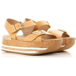 Hogan flat wedges sandals shoes in tan leather