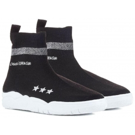 Chiara Ferragni black knitted hi top sneakers shoes