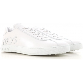 Tod's men's low top sneakers shoes in white leather