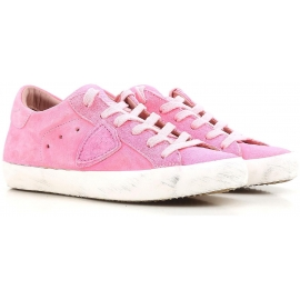 Philippe Model women's low top sneakers in pink suede