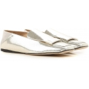 Sergio Rossi flats loafers in laminated silver leather