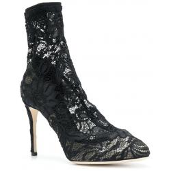 Dolce&Gabbana high heels sock pumps in black satin