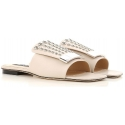 Sergio Rossi flats slide sandals in nude leather