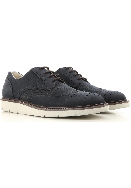 Hogan men's wingtips lace-up shoes in blue suede