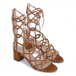 Aquazzura Mumbai gladiator sandals in beige suede