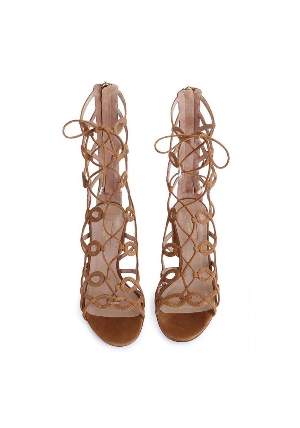 ff82cb5ec9c Aquazzura Mumbai gladiator sandals in beige suede - Italian Boutique