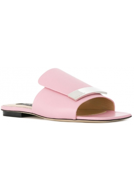 bfdd06cf580 Sergio Rossi flats slippers in light pink leather - Italian Boutique