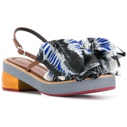 Marni kitten heel sandals with big fabric bow