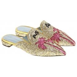 Chiara Ferragni flats pointed mules sandals in gold glitter