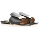 Sergio Rossi flats slide sandals in black leather