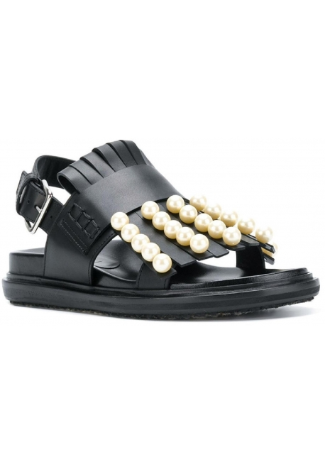 Marni flat slingback sandals in black leather with pearls
