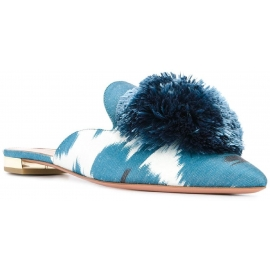 Aquazzura pointed slippers sandals in azure canvas