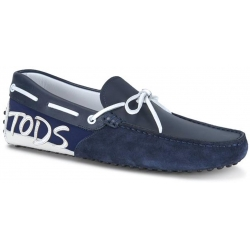 Tod's men's Gommino driving shoes in blue leather and suede