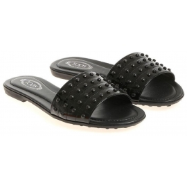 Tod's black patent leather flat slade sandals with studs