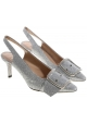 Casadei heel slingback pumps in silver leather