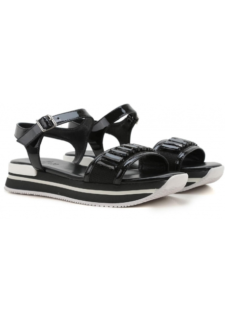 Hogan black leather wedges sandals with crystals