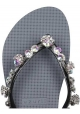 Uzurii women's thong slippers in silver gray rubber