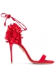 Aquazzura high heel ankle strap sandals in red suede leather