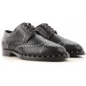 Dolce&Gabbana men's laser cut lace-up in black leather