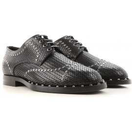 Dolce&Gabbana men's laser cut lace-up in black leather