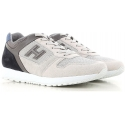 Hogan men's sneakers shoes in grey and off-white leather